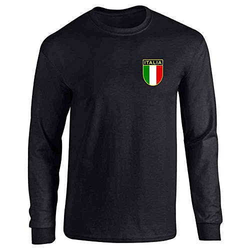 Italy Soccer Retro National Team Black L Full Long Sleeve Tee T-Shirt