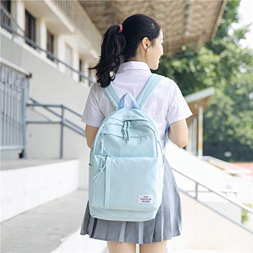 Large Capacity Multi-Pocket Waterproof Backpack Can Hold Laptop Waterproof Nylon Girls School Backpack Fashion (Sky Blue) by VNHOME