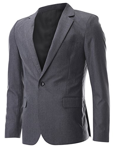 FLATSEVEN Mens Slim fit Classic One Button Notched Lapel Blazer Jacket (BJ226) Charcoal, M (US X-Small / 34~36)