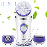 Flend Women's Epilator Electric Rechargeable, Wet & Dry, 3-in-1 Waterproof Facial Cleansing Brush
