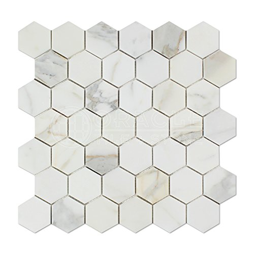 Calacatta Gold (Italian Calcutta) Marble 2 inch Hexagon Mosaic Tile, Polished