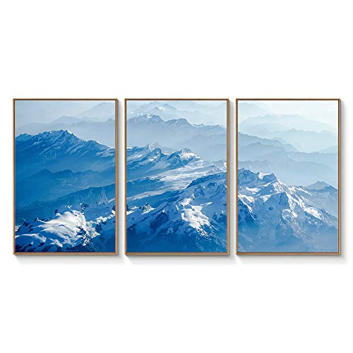 Floating Framed for Living Room Bedroom Landscape Gorge Mountain River Grassland for x3 Panels