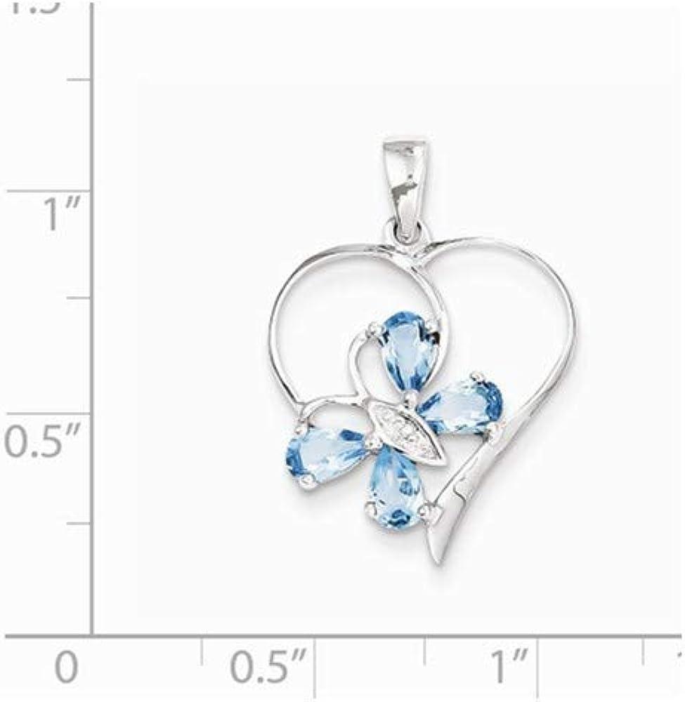 Sterling Silver SW Blue Topaz /& Diamond Butterfly Heart Pendant