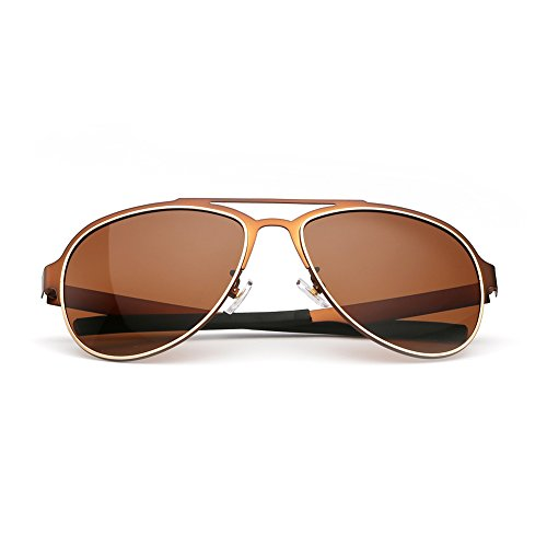 Menton Ezil Brown Aviator Sunglasses Classic Mens Driving Shades Metal Frame UV400
