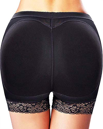 Butt Lifter Hip Enhancer Pads Underwear Shapewear Lace Padded Control Panties Shaper Booty Fake Pad Briefs Boyshorts (Black, M)