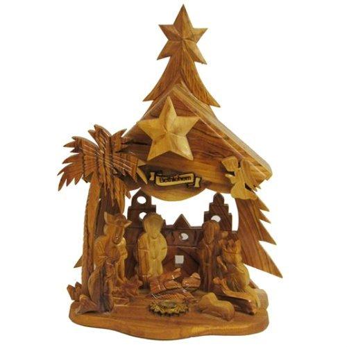 Kurt Adler LOC0002 6.9'' Olive Wood Nativity Music Box