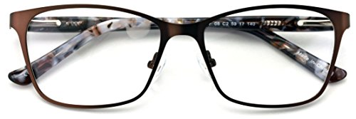 Stainless Steel Non-prescription Glasses Frame Clear Lens Metal Eyeglasses With Plastic Acetate Temple ()