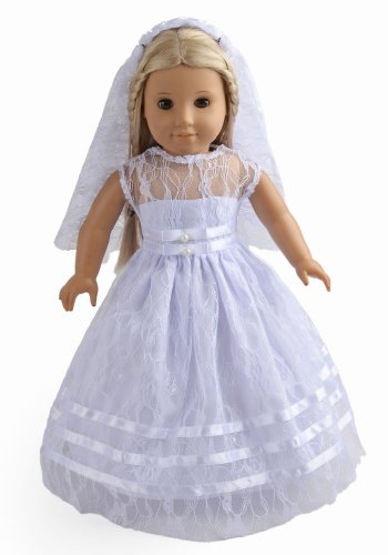 (2Pc Doll Clothes White Communion Dress Wedding Dress Fits 18 Inches American Girl Dolls)