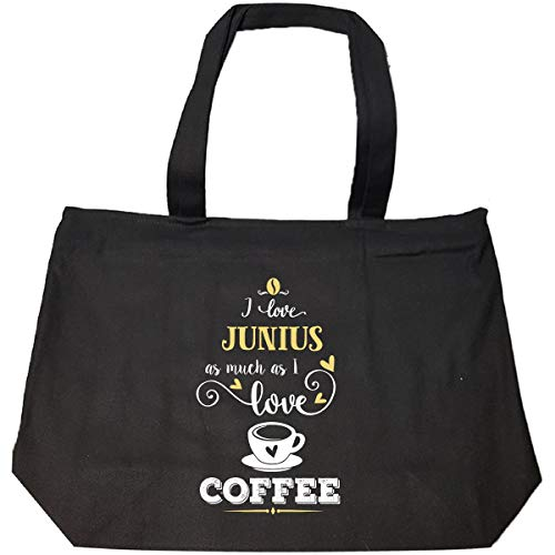 I Love Junius As Much As I Love Coffee Gift For Her - Tote Bag With Zip