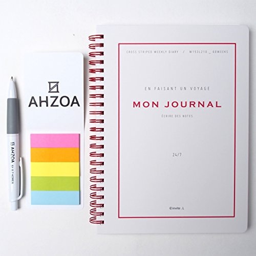 Mon Journal Diary Set Including Ahzoa Pencil And Ahzoa 5 Colors Post It Flags  Gray