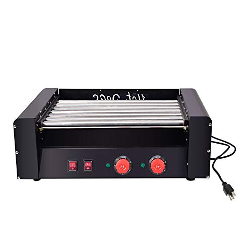 YiiYYaa Electric 18 Hot Dog 7 Roller Grill Cooker Machine 1350-Watt dual-temperature controls - Commercial Grade [US Stock]