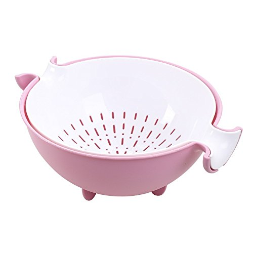 Strainer Colander Draining Basket Washing Bowl Double Layer for Fruits Vegetable Cleaning Washing(Pink)