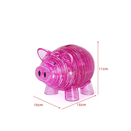 Gperw Early Development Educational Toys Intelligence Toy Cartoon Cute Pig Bank 3D Stereo Crystal Blocks Assembling Toys (Red)