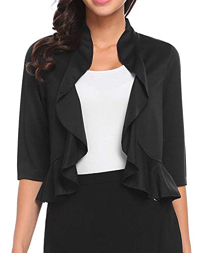 (Women's 3/4 Sleeve Cropped Bolero Shrug Open Front Cardigan (Black, Large))
