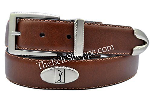 [PGA TOUR Leather Concho Golf Belt - Brown] (3 Piece Leather Concho Belt)