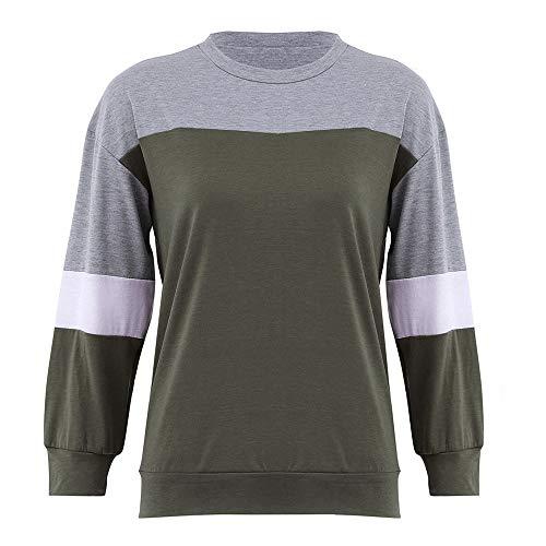 ✦HebeTop✦ Women's Color Block Basic Fleece Pullover Tops Blouse - Voile Top Peasant