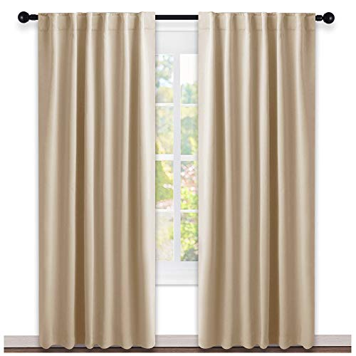 NICETOWN Window Treatment Curtains Room Darkening Draperies - (Biscotti Beige Color) 52 Width X 95 Drop, Room Darkening Blackout Curtains and Drapes for Bedroom