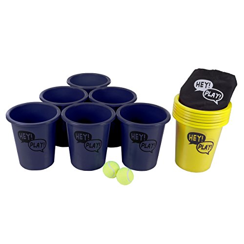 Hey! Play! Large Beer Pong Outdoor Game Set for Kids and Adults with 12 Buckets, 2 Balls, Tote Bag (Blue and Yellow)