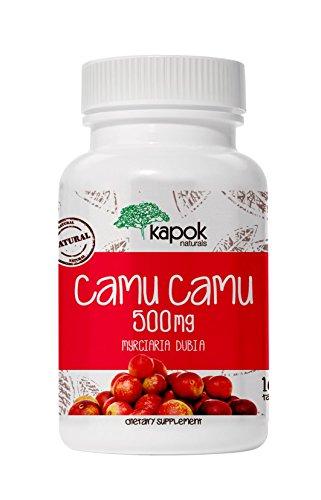 Kapok Naturals Camu Camu, 100 x 500mg Wholefood Vitamin C Antioxidant Camu Camu Capsules Boosts Immunity, Offers Liver Cleanse, Gum Health, Reduces Inflammation, 100 Camu Camu Pills, 500mg Camu Powder