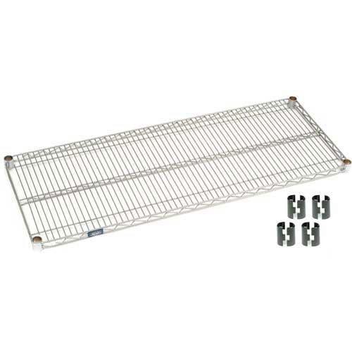 Nexel S2448EP Silver Epoxy Wire Shelf 48''W x 24''D with Clips by Nexel