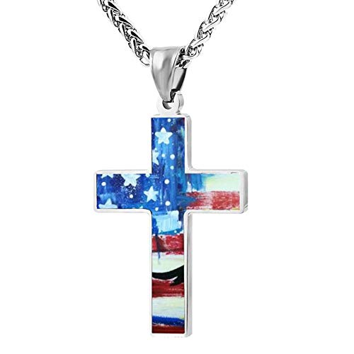 Phoenix Powell88 American Flag Eagle Art Cross Pendant Necklace Customize Christian Religious Jewelry for Men/Women