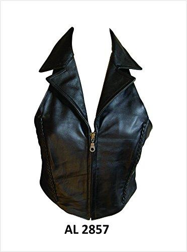 Ladies Lambskin Leather Halter Top / Vest W/Braid & - Vest Leather Ladies Lambskin