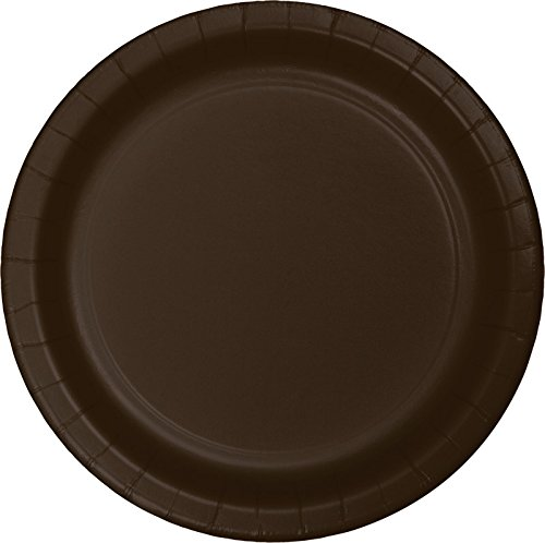 Creative Converting Touch of Color Paper Lunch Plates, 24-Count, Chocolate Brown