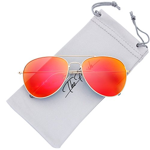 The Fresh Classic Large Metal Frame Mirror Lens Aviator Sunglasses with Gift Box (GOLD, RED) ()
