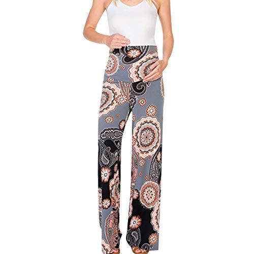 Maternity Pants Boho Floral High Waist Comfy Stretch Palazzo Wide Leg Lounge Trousers ()