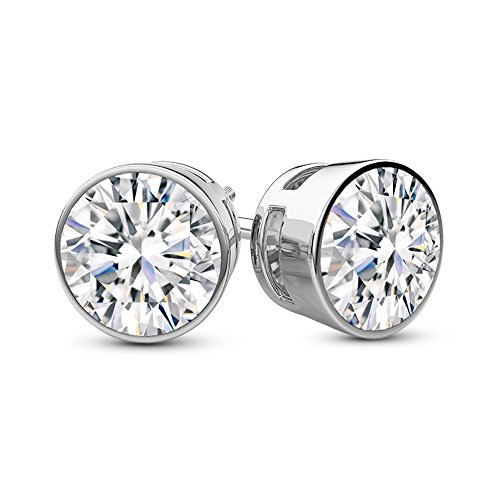 1 Carat Total Weight White Round Diamond Solitaire Stud Earrings Pair set in Plat-950 Platinum Bezel Push Back (F-G Color SI2-I1 Clarity)