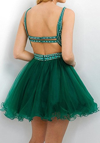 Homecoming Beading Dresses Open Gown BD350 Straps Back Cocktail BessDress Teal Ball With Short Z5AnTq