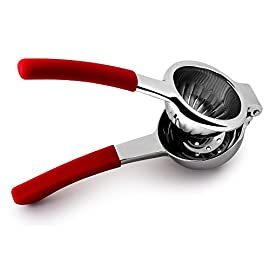Top Rated Bellemain Premium Quality Stainless Steel Lemon Squeezer with Silicone Handles 57 SUPERIOR STRENGTH FOR PROFESSIONAL SQUEEZING: Say hello to the best manual juicer on Amazon. We devised the optimal bowl size, and added reinforced hinges, thick casting and strong levers-ready for workhorse squeezing marathons, so you're ready, too. ERGONOMIC DESIGN: Nobody likes arthritic pangs from poorly designed juicers. Your hands will never run out of juice when using our thickly formed, silicone-bonded handles. They keep your grip strong and steady more than any other manual juicer on Amazon. STAINLESS STEEL PERFECTION: Enamel, aluminium or plastic juicers might be good for beginners looking for a single press, but you should demand more than something that chips or breaks after extended use. Bellemain juicers are 18/10 stainless steel so your juicer looks the same on the 100th day of making lemonade as it did on day 1-etch-free, rust-free, and simply marvelous.