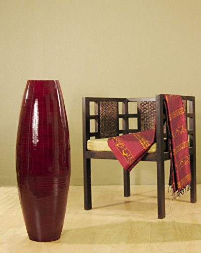 Tall Curly Willow (Green Floral Crafts 36 in. Tall Red Cylinder Floor Vase and Free Curly Willow)