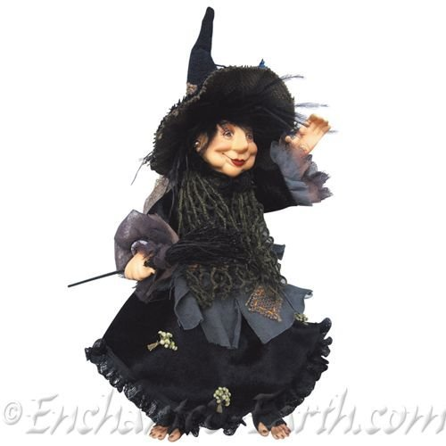 Witches of Pendle - Rosemary Kitchen Witch Hanging or Sitting (Burgundy) 35cm (Kitchen Witch Hanging)