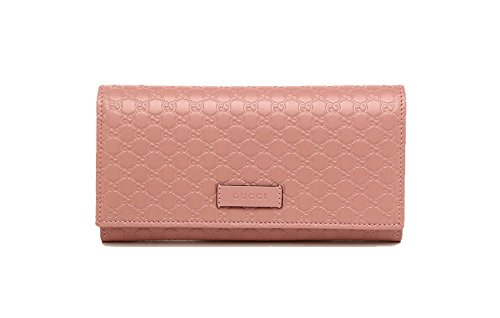 3619bd2e036 Gucci Women s Signature GG Micro Guccissima Continental Flap Long Bifold  Leather Wallet - Soft Pink 449396 BMJ1G 5806 - Buy Online in KSA.