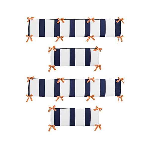 Sweet Jojo Designs Orange and Navy Blue Arrow Collection Crib Bumper