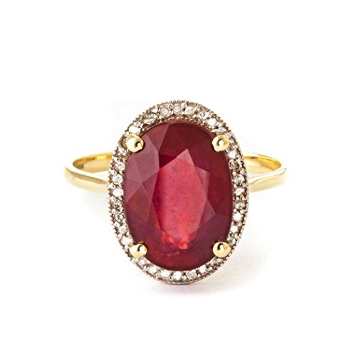 (7.93 Carat 14k Solid Gold Ring with Natural Oval-shaped Ruby and Genuine Diamonds - Size 8)