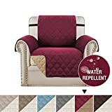 H.VERSAILTEX Reversible Chair Slipcover Chair Covers for Living Room, Sofa Covers for Dogs with 2' Wide Adjustable Straps, Machine Washable Furniture Protectors for Sofas (Chair: Burgundy/Tan)