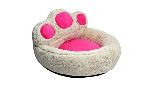 Smoosky Best Pet Supplies Deluxe Bolster Bear's Paw Comfortable Round Pet Bed for Dogs & Cats,White