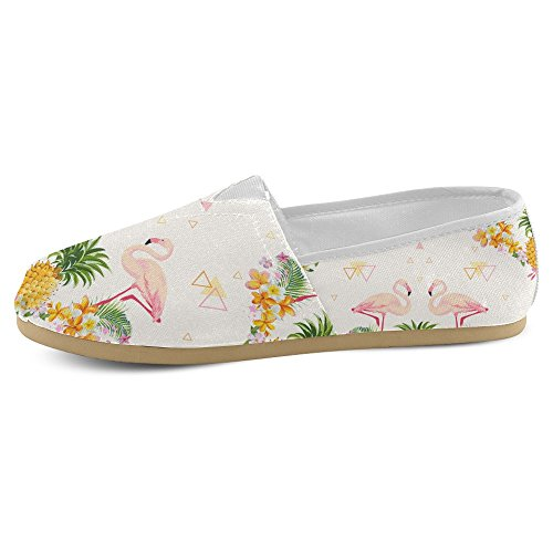 InterestPrint Womens Loafers Classic Casual Canvas Slip On Fashion Shoes Sneakers Mary Jane Flat Flamingo Lovers ifTnKjMBlJ