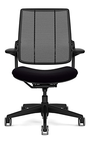 Humanscale Diffrient Smart Desk Chair – Home Office Desk Task Chair with Adjustable Duron Arms – Black Frame – Black Monofilament Stripe Back Mesh – Black Vellum Seat – Carpet Casters