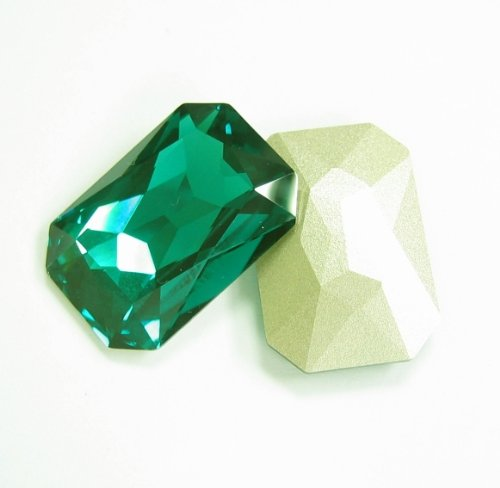 1 pc Swarovski Crystal 4627 Octagon Cabochon Stone Bead Emerald Foiled 27mm X 18.5mm / Findings / Crystallized Element