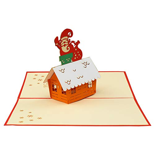 (Santa on roof - 3D Card, Popup card, for all occasions as Christmas Card, Anniversary Card, Greeting Card, Thank You Card, Lunar New Year)