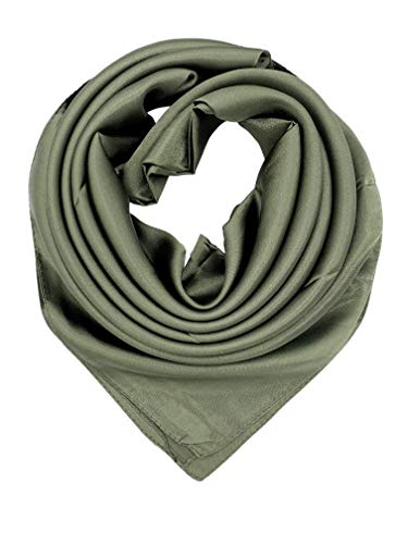 (YOUR SMILE Pure Olive Green Silk Feeling Scarf Women's Fashion Pattern Large Square Satin Headscarf (333))