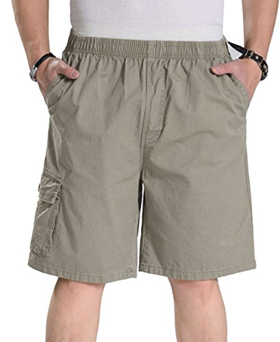 YangguTown YGT Mens Loose Cotton Cargo Shorts Overall Elastic Waist Twill Pants ()