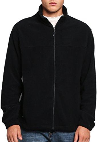 Oalka Men Spring Fall Sport Full Zip Fleece Jackets Black L (Fleece Mens Full Zip)