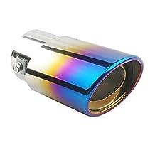 Pinovk Universal Fits Car Stainless Steel Slant Burnt Exhaust Tail Muffler Tip Pipe Fit Pipe Diameter 1 1/2'' - 2 1/4''