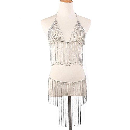 Ownsig Women Bohemian Crystal Tassel Halter Bikini Set Body Chain Fashion Beach Jewelry Sexy Silver by Ownsig