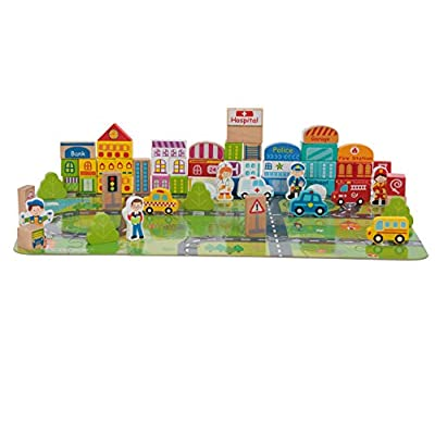 Toysters 100-Piece Wooden City Building Blocks | BPA-Free Wood Game Set for Toddlers | Interactive STEM Educational Toy for Fine Motor, Engineering Skills, Shape Sorting & Recognition | BK391: Beauty