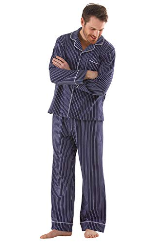 PajamaGram Classic Pajamas for Men - Cotton Mens PJs Set, Navy/White Stripe, MD